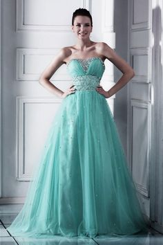 Mint Sweetheart Strapless Floor-length Beads Satin Tulle Prom Dresses Party  Dresses Online 5ab3485d8a99