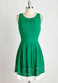 Revved Up Reality Dress. As lovely as a sunny day and as lush as the blossoming trees above, this kelly green dress is a bold take on everyday beauty! #green #modcloth