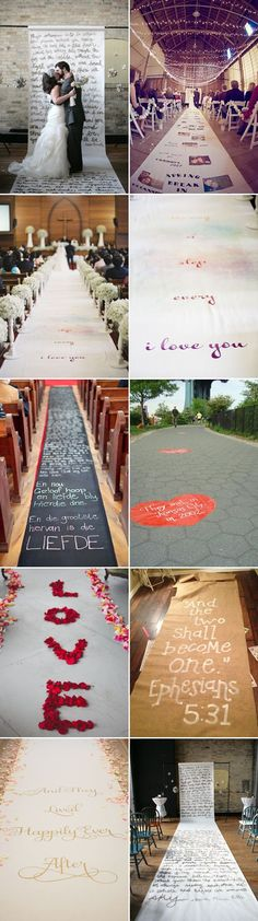 26 Creative Wedding Aisle Runners - Special Message