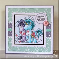 Beau and Bashful, Sylvia Zet, Wee Stamps, Whimsy Stamps, Copics, Unicorn