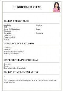 Formulario Curriculum Vitae Basico Para Completar Www Petv Tv