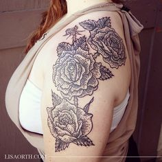Some roses for Amy, my first appointment in Los Angeles at Incognito tattoo