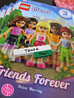 LEGO Friends books.....Such a cute idea for a party! Better than all the candy you get in most goody bags!