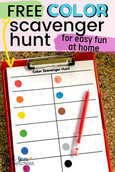 Enjoy easy fun at home with your kids using this FREE Color Scavenger Hunt. Oh, and you'll love these creative ideas for boosting the fun with this scavenger hunt for kids (like using for virtual field trips! Fun Learning, Preschool Activities, Outdoor Learning, Learning Colors, Preschool Learning, Preschool Art, Family Activities, Homeschool Kindergarten, Preschool Lessons