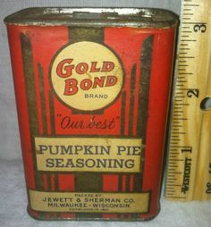 Gold Bond Pumpkin Pie Spice Tin Jewett Sherman Milwaukee Wisconsin Wis Antique | eBay