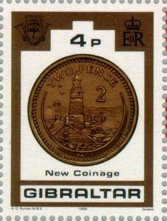 Sello: New Coinage (Gibraltar) (Coins) Mi:GI 577,Yt:GI 590