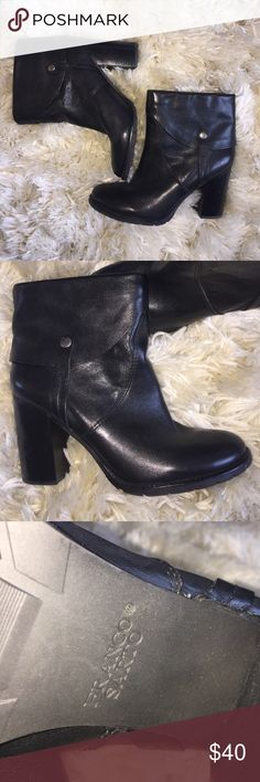 "Franco Sarto Black Leather Booties Sz 9.5 Black Leather Booties, excellent pre-owned condition, 4"" heel.                                                                                            🌷Reasonable offers are welcome 🌷⭐️⭐️⭐️⭐️⭐️ Rated Seller 🌷Fast Shipping(next business day)  Thanks for viewing my closet! Franco Sarto Shoes Ankle Boots & Booties"