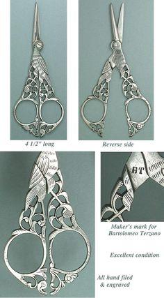 Ornate Antique Italian Steel Filigree Stork Scissors Circa 1890 | eBay