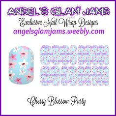 Cherry Blossom Party Jamberry Nail Wraps by Angel's Glam Jams  ORDER HERE: http://angelsglamjams.weebly.com/cherry-blossom-party.html  #cherryblossom #blossom #blue #pink #flowers #jamberry #nailwraps