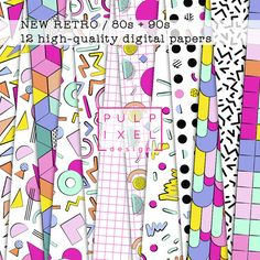 NEW RETRO - 12 Epic Digital Papers with 80s 90s Geometric Patterns in Neon…