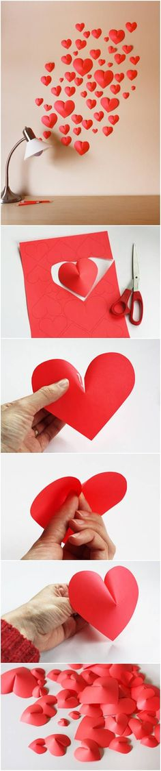 How to Make Paper Hearts Wall Decor #craft #decor #paper... - http://centophobe.com/how-to-make-paper-hearts-wall-decor-craft-decor-paper/