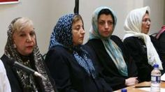 "Prominent Iranian human rights activist Narges Mohammadi, second right, sits next to Iranian Nobel Peace Prize laureate Shirin Ebadi, second left, and the now deceased poet Simin Behbahani, left, while attending a meeting on women""s rights in Tehran, Iran on 27 August 2007"