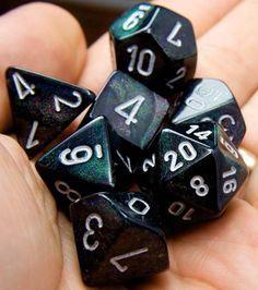 RPG Dice Set (Borealis Black) role playing game dice + bag