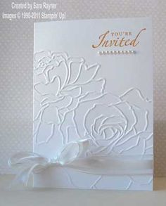 Sara Stamper - Main Page: Quick and easy invites using the Manhattan Flower embossing folder Embossed Business Cards, Embossed Cards, Flower Invitation, Invitation Cards, Invites, Wedding Invitations, Anniversary Invitations, 25th Anniversary, Handmade Invitations