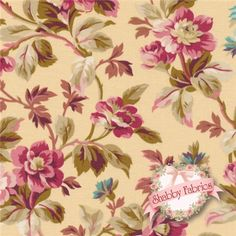 "Rose Hill Lane 1864-003 By Robyn Pandolph For RJR Fabrics: Rose Hill Lane is a collection by Robyn Pandolph for RJR Fabrics. 100% cotton. 43/44"" wide. This fabric features an elegant trailing floral design set on a yellow background."