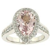 Charles Krypell 18k White Gold Lds 'Pastel' Pear Shaped Morganite and Pave Set Dmd Rg