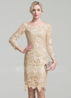 Sheath/Column Scoop Neck Knee-Length Zipper Up Sleeves Long Sleeves No Champagne General Plus Lace Mother of the Bride Dress