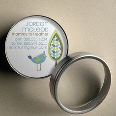 Jordan (Retro Tree and Bird) - 50 CUSTOM Round Calling Cards/ Business Cards/ Tags in Tin by PoshGirlBoutique