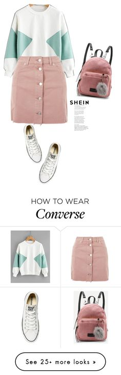 """""""Back to school style: Color Block Sweatshirt"""" by mycherryblossom on Polyvore featuring Topshop, Converse, BackToSchool, Sweatshirt, polyvoreeditorial and shein"""