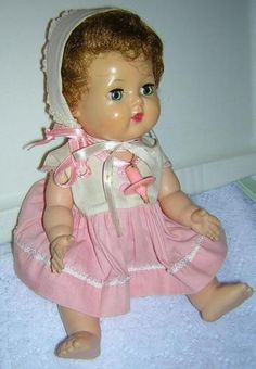 Tiny Tears was a doll manufactured by the American Character Doll Company. She was introduced in 1950 and remained in production through 1968. Her distinguishing feature was her ability to shed tears from two tiny holes on either side of her nose when her stomach was pressed after being filled with water from her baby bottle.