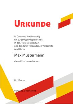 Beispiel: Muster-Urkunde-Dank-Rot