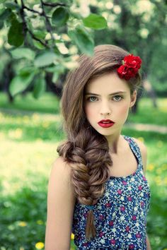 brown haired braid with red flowers