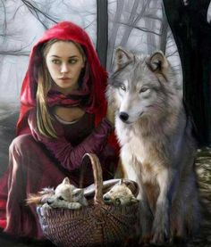 """Details here: [link] My take on """"Little Red Riding hood"""". *Beautiful model used as reference for Red is Jessica. Thank you so much sweetheart! Enchantment Of the Wolf Foto Fantasy, Fantasy Art, Fantasy Images, Dark Fantasy, Fantasia Marilyn Monroe, Enchanted, Of Wolf And Man, Art Magique, Red Ridding Hood"""