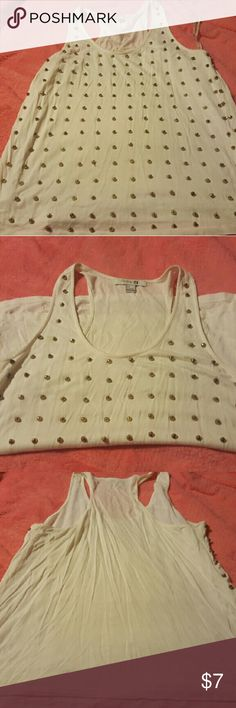 Cream color tank with gold metal prongs Cute summer tank with gold metal prongs on front, plain back. Forever 21 Tops Tank Tops