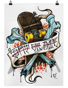 Skate or Die Skateboard Tattoo, Skate Tattoo, Skateboard Art, Graffiti Drawing, Graffiti Lettering, Graffiti Art, Traditional Flash, Traditional Tattoo, Skull Tattoos