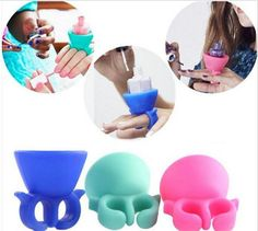 Valentines Day Gift Silicone Nail Art Polish Holder 5 piece mixed color