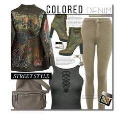 Spring Trend: Colored Denim by beebeely-look on Polyvore featuring Topshop, Hogan, American Coin Treasures, Burberry, Urban Decay, Bobbi Brown Cosmetics, StreetStyle, edgy, Gogreen and coloredjeans