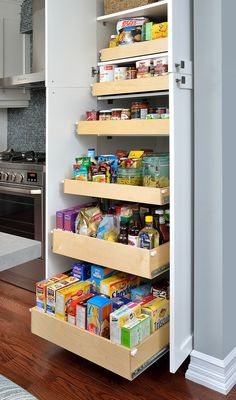 Deep Pantry storage cabinet transformed with pull-out shelves, to access all items at the very back. Full extension rails that allow a reach to the back with an ease of your fingers. Pantry Storage Cabinet, Pantry Shelving, Kitchen Organization Pantry, Storage Shelves, Kitchen Pull Out Drawers, Pull Out Pantry Shelves, Deep Shelves, Storage Ideas, Kitchen Pantry Design