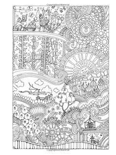Creative Haven Insanely Intricate Entangled Landscapes Coloring Book (Creative Haven Coloring Books) Adult Coloring Book Pages, Printable Adult Coloring Pages, Cool Coloring Pages, Coloring Pages To Print, Coloring Sheets, Art Doodle, Creative Haven Coloring Books, Mandala Pattern, Colorful Drawings
