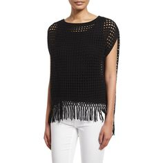 Elie Tahari Pandora Crochet Sweater with Fringe Hem (24,455 INR) ❤ liked on Polyvore featuring tops, sweaters, black, crochet pullover sweater, loose fitting tops, sweater pullover, loose tops and cap sleeve sweater