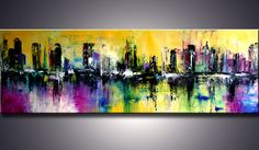 "72"" XXL ORIGINAL Modern Abstract Cityscape Palette Knife Modern Art Painting UNSTRETCHED"