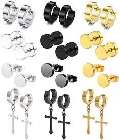 Stud Earrings For Men, Hoop Earrings, Guys Ear Piercings, Grunge Jewelry, Ear Jewelry, Earring Set, Stainless Steel, Mens Fashion, Jewels