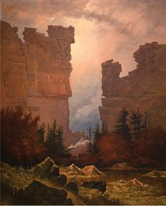 Alfred E. Lambourne, Castle Gate, Price River Canyon [[Denver & Rio Grande #4], 1889, oil on canvas, 60 x 48 in. Private Collection. Credit: Painters of Utah's Canyons and Deserts, by Donna Poulton & Vern Swanson