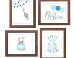 Navy Blue Nursery Art - Blue and Gray - Nursery Decor - Elephant and Giraffe - Baby Boy Nursery - Watercolour Nursery Prints - Set of Four