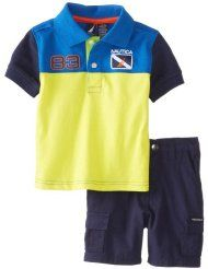 Nautica Baby-Boy Infant 2 Piece Stripe Polo and Short Set
