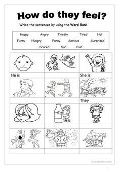 Feelings Galit English Lessons For Kids English Worksheets For – Rita Wong English Activities For Kids, Learning English For Kids, English Lessons For Kids, English Worksheets For Kids, Kids English, School Worksheets, Kindergarten Worksheets, Printable Worksheets, Teaching English