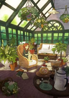 Art by Sayaka Ouhito. What a perfect space.