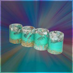 Resin shot glasses - Larimar aqua and gold leaf shot glasses (SET OF 4)