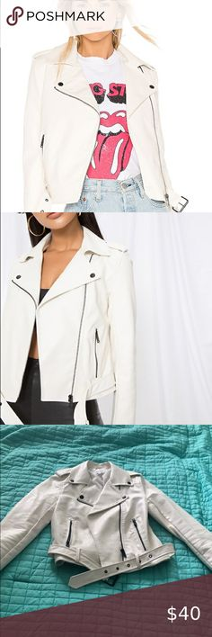Revolve Super Down white leather jacket size S Worn one time - excellent condition  Size small superdown Jackets & Coats Leather Jackets