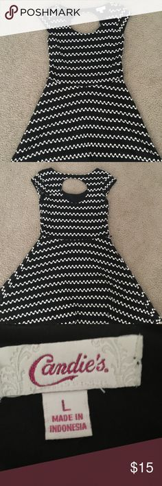 Black and white crochet dress Simple, pretty black and white dress with an opening in the upper back. Only worn once. Smoke free home. Comment if you want more pics or measurements. Candie's Dresses