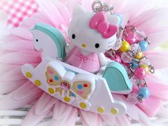 Sweet Hello kitty rocking horse necklace with by Sugarbunnies379, $34.99