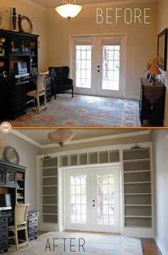Ikea Shelves Into Built-in Bookcases. Maybe for the front room. Ikea Shelves Into Built-in Bookcases. Maybe for the front room. Home Diy, Home, Bookshelves Built In, Cozy House, Home Remodeling, New Homes, Bookcase Diy, House, House Interior