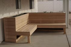 The first project my girlfriend and I built together: L-shaped planter bench : woodworking Deck Seating, Backyard Seating, Built In Seating, Backyard Patio Designs, Built In Bench, Outdoor Seating, Privacy Planter, Planter Bench, Patio Bench