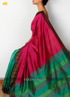 f4875d0ae32bca Bottle green and fuchsia hand woven Banarsi silk by Akaaro on  Indianroots.com