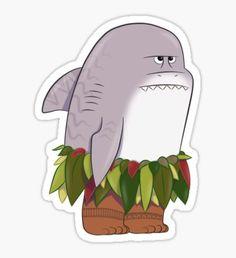 Funny Shark Head Maui Sticker