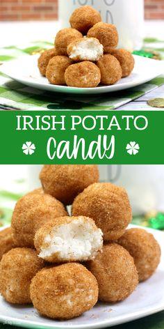 Irish Potato Candy a no-bake treats are full of cream cheese, sugar and coconut. Perfect treat for St. Irish Desserts, Irish Recipes, Sweets Recipes, Candy Recipes, Cooking Recipes, Yummy Recipes, Irish Potato Candy Recipe, Recipe For Irish Potatoes, Delicious Desserts